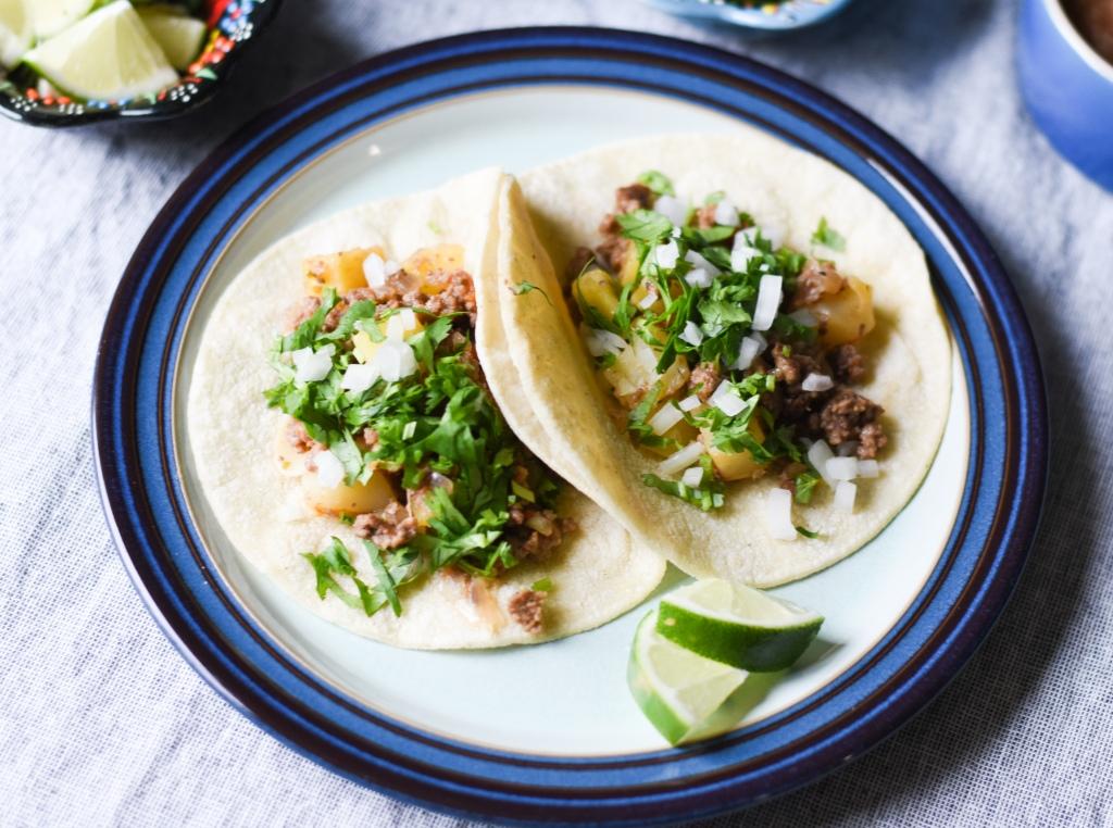 Mexican picadillo tacos