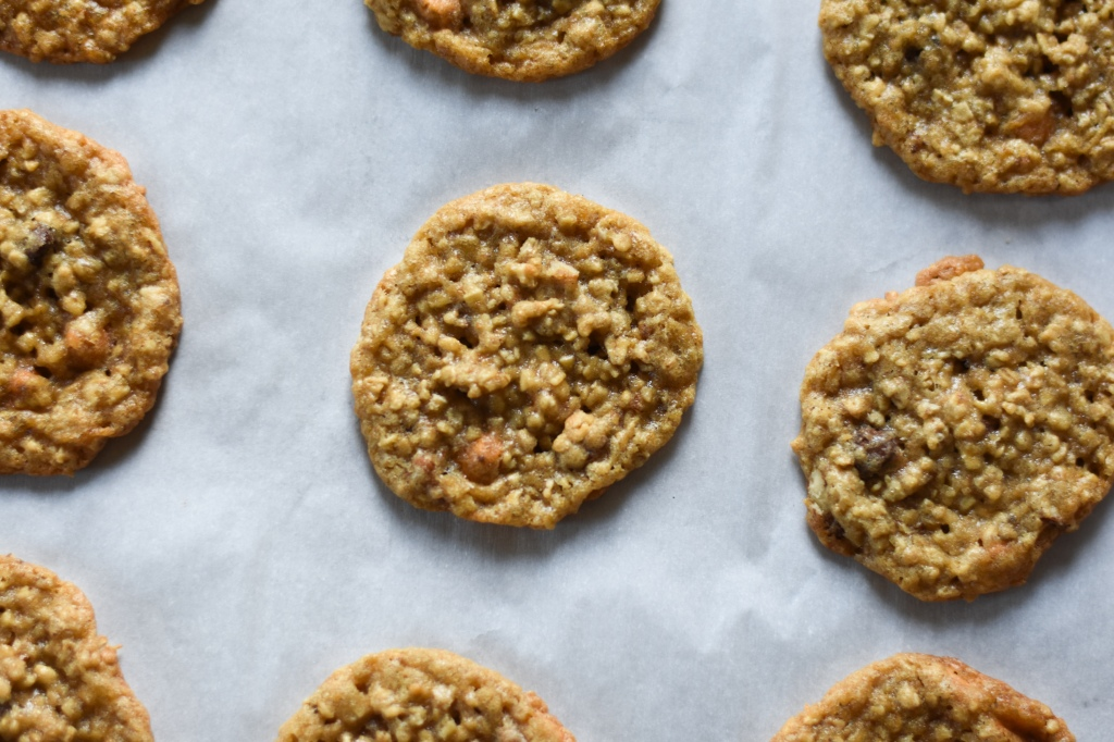 Chewy oatmeal cookies with butterscotch with butterscotch and chocolate chips