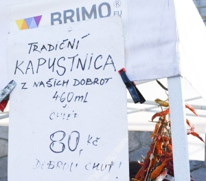 Handwritten Kapustnica advertisement in Prague at the Naplavka farmers market