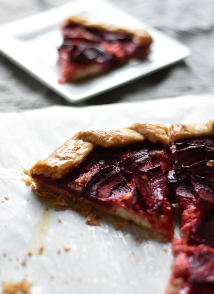 close up of beet galette slice