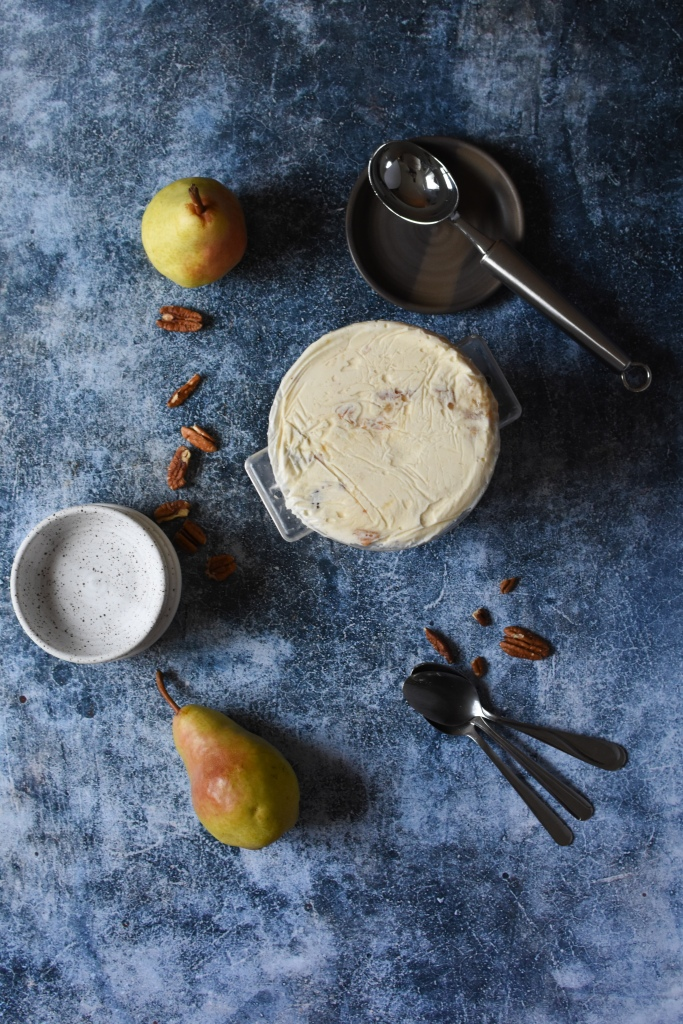 Caramelized pear toasted pecan ice cream ready to be scooped, recipe.